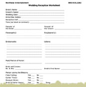 Worksheets Wedding Worksheet boston massachusetts wedding entertainment to better assist you weve created a reception worksheet highlighting on the special activities that may occur at your reception